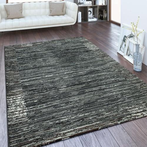Designer Teppich Gestreiftes Muster Anthrazit