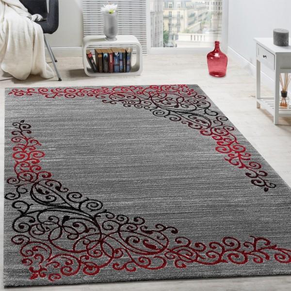 Designer Teppich Mit Floral Muster Glitzergarn Rot Grau Anthrazit Meliert