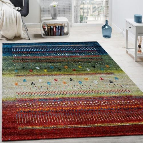 Designer Teppich Gabbeh Loribaft Bordüre Nomaden Multicolor Rot Creme Grün Blau
