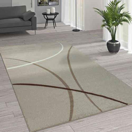 Kurzflor Wohnzimmer Teppich Trendige Moderne Linien Muster In Beige Creme Braun