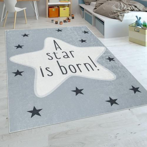 Kinderteppich Kinderzimmer Babyteppich Waschbar Modern Stern Design Spruch Grau