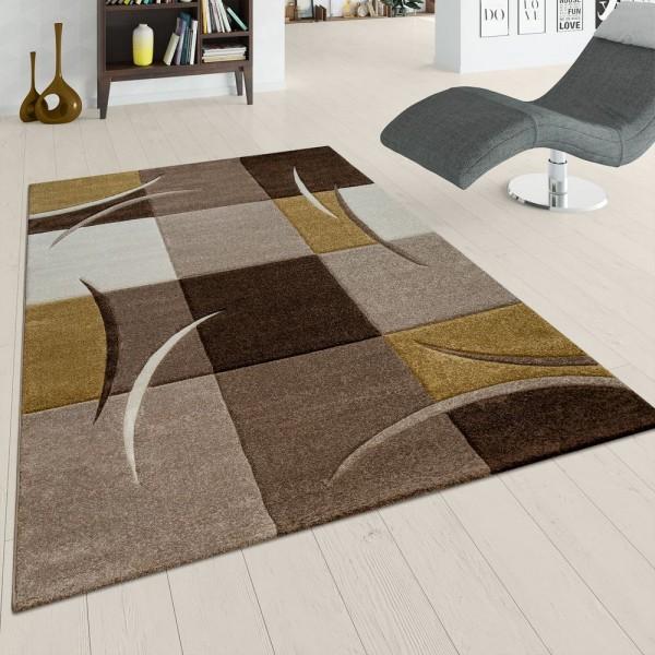 Wohnzimmer Teppich Braun Gelb Karo Muster Abstrakte Streifen 3-D Design Kurzflor
