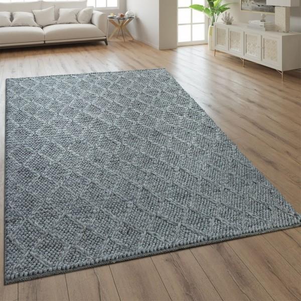 Teppich Handgefertigt Rauten Muster Silber Grau