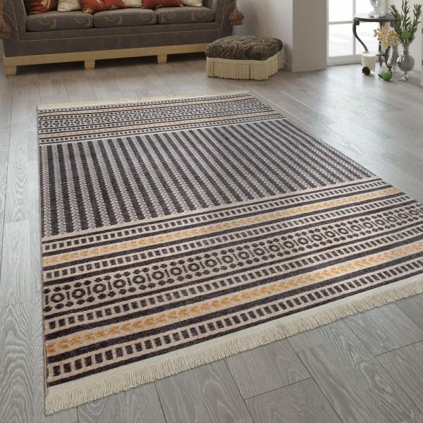 Fransen Teppich Wohnzimmer Ethno Design Boho Streifen Muster In Grau Gelb