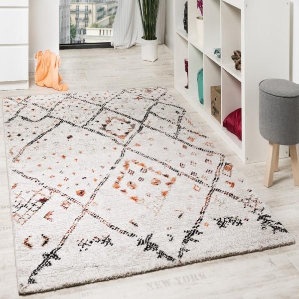 Designer Teppich Modern Nomaden Teppich In Karo Motiv Meliert Creme Orange