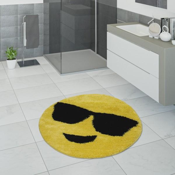 Badematte Badezimmer mit Smiley Emoji-Motiv Gelb