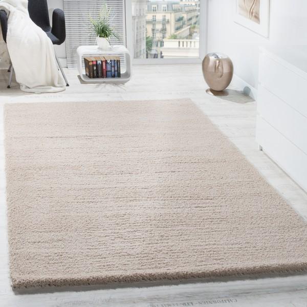 Shaggy Teppich Micro Polyester Wohnzimmer Teppiche Elegant Hochflor Hellbeige