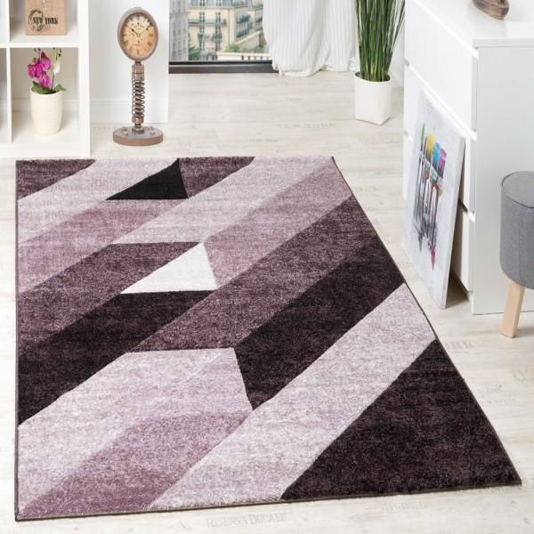 Designer Teppich Hochwertig Diagonal Streifen Dreiecke 3D Optik Lila Beerentöne