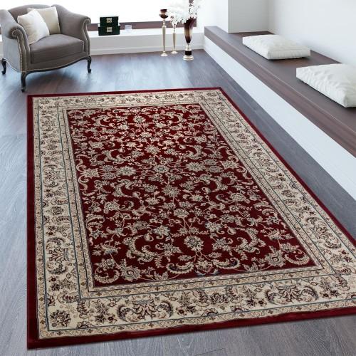 Orientteppich Bordüre Ornamente Creme Rot