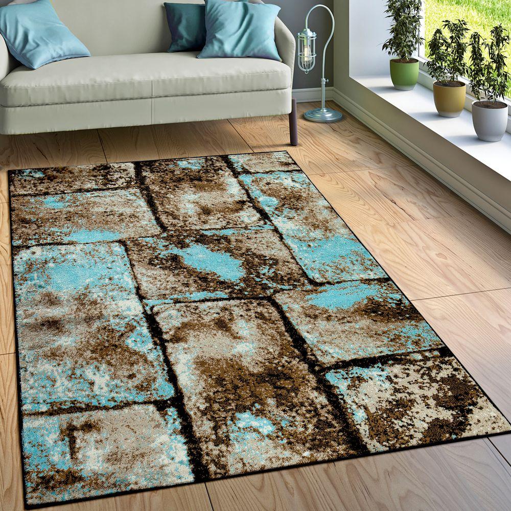 Teppich Wohnzimmer Modern Stein Optik Mauer Design