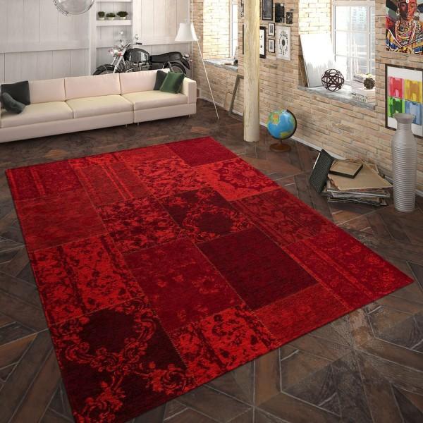 Teppich Flachgewebe Patchwork Rot