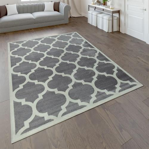 Designer Teppich Marokkanisches Muster Kurzflorteppich Modern Trend Grau Weiß
