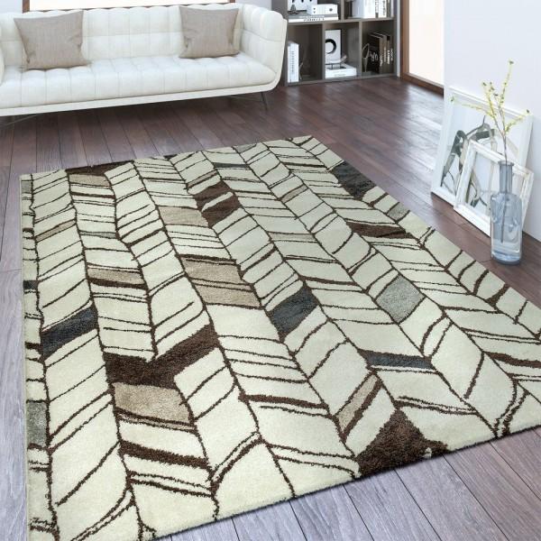 Designer Teppich Linien Design Weiß
