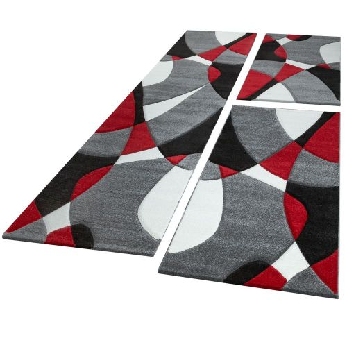 Läufer Set Geometrisch Rot Grau