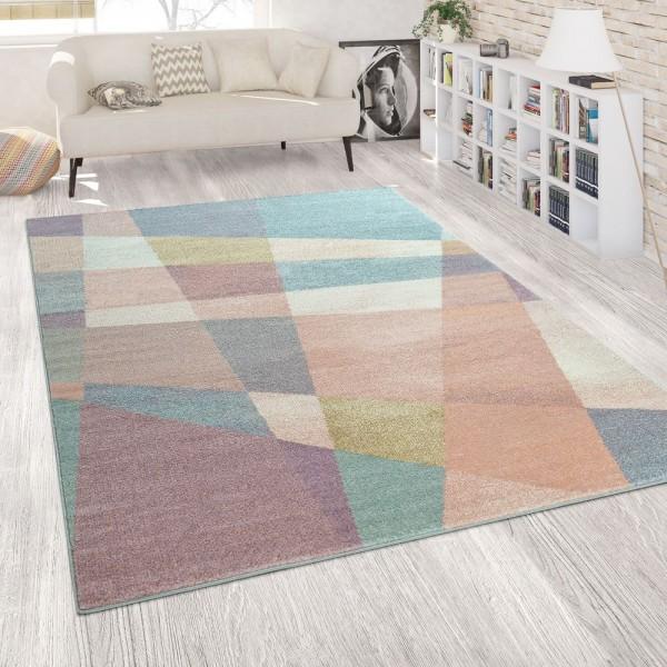 Teppich Wohnzimmer Pastellfarben Muster Design