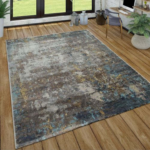 Kurzflor Teppich Wohnzimmer Ölgemälde Used-Look Abstrakt Modern In Grau