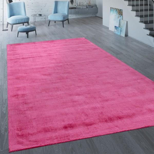 Handgefertigter Vintage Teppich Einfarbig Pink