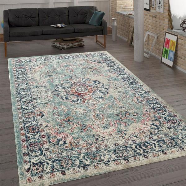 Trendiger Flachgewebe Teppich Vintage Orient Used Look Ornamente Mehrfarbig