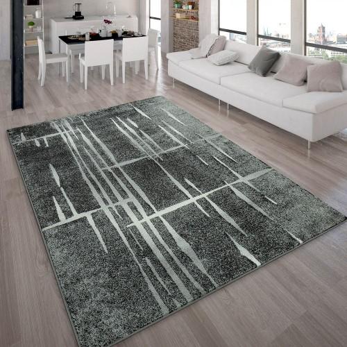 Designer Teppich Modern Trendiger Kurzflor Teppich in Grau Schwarz Creme Meliert