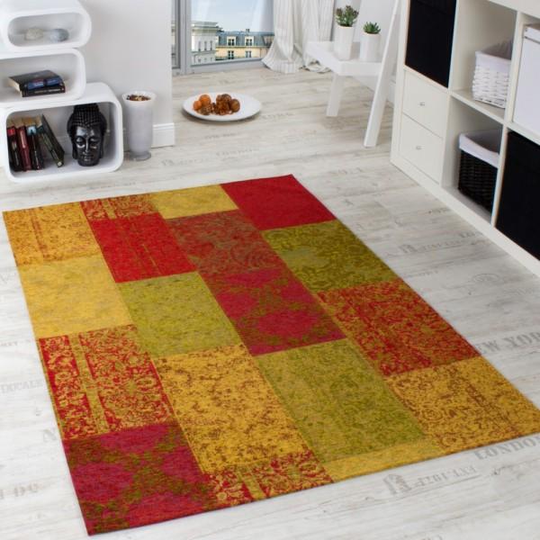 Vintage Teppich Antik Patchwork Stil Kariert