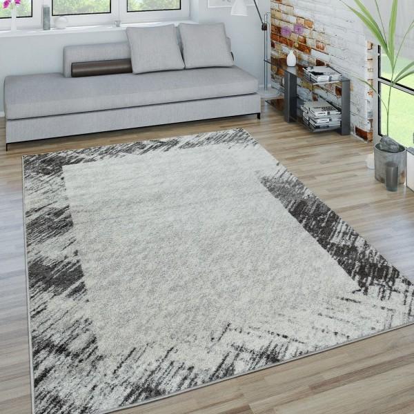 Kurzflor Teppich Wohnzimmer Modern Bordüre Abstraktes Design Used-Look In Grau