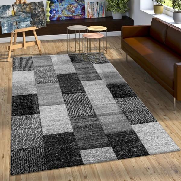 Designer Teppich Mit Konturenschnitt Karo Muster In Grau Silber Weiß