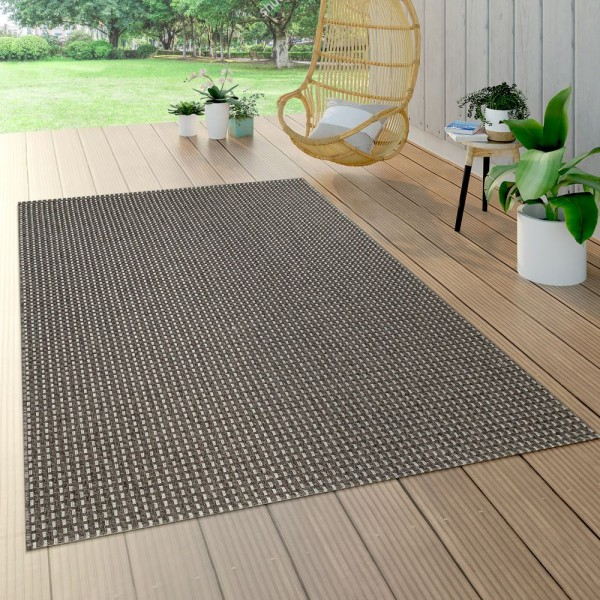 In- & Outdoor Flachgewebe Teppich Sisal Optik Natürlicher Look Uni Anthrazit