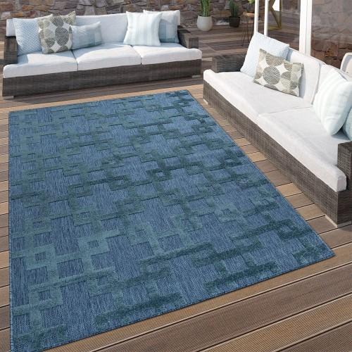 In- & Outdoor Terrassen Teppich Modernes Kreuz Muster In Blau