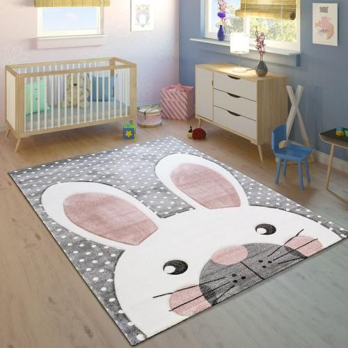 Kinderteppich Kinderzimmer Konturenschnitt Niedlicher Hase Grau Creme Rosa
