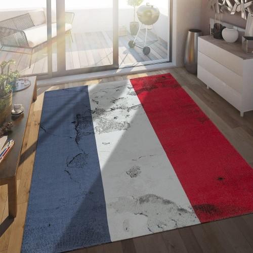In- & Outdoor Terrassen Teppich Französische Flagge Moderne Beton Optik