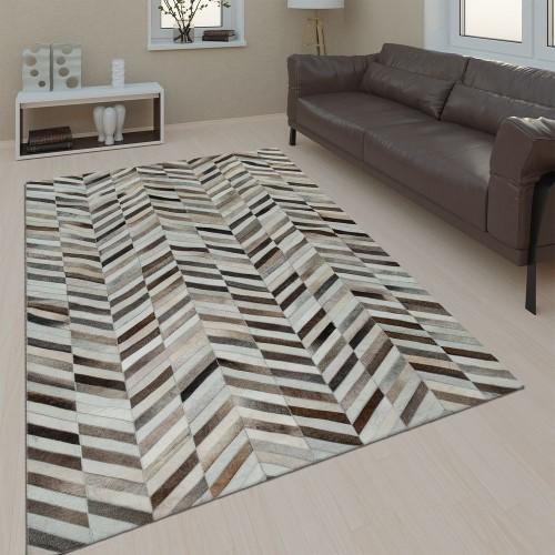 Wohnzimmer Teppich Leder Wolle Modern Muster Zickzack In Schwarz Weiß Braun