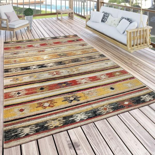 In- & Outdoor Teppich Modern Jelle Print Terrassen Teppich Wetterfest Gelb