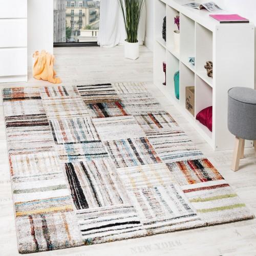 Designer Teppich Modern Nomaden Stil Kariert Mit Streifen Multicolor Creme