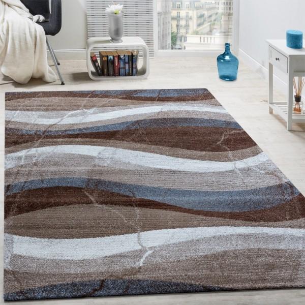 Designer Teppich Modern Kurzflor Wellen Optik Abstrakt Braun Beige Grau