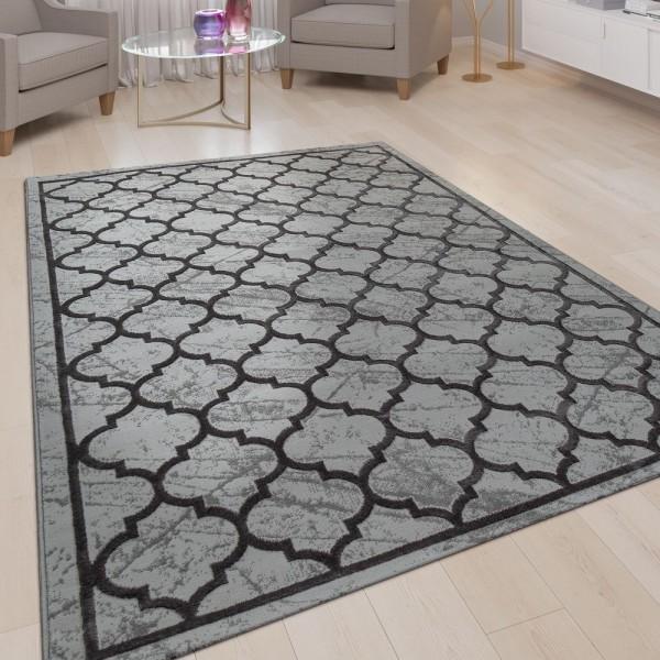Wohnzimmer Teppich Grau Anthrazit Orient 3-D Marrokanisches Muster Kurzflor