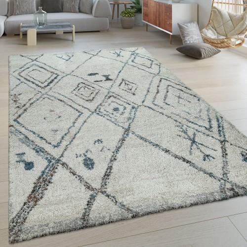 Kurzflor Wohnzimmer Teppich Modern Ethno Design Rauten Muster In Creme Blau