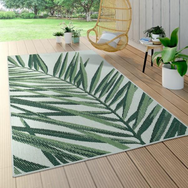In- & Outdoor Teppich Grün Beige Muster