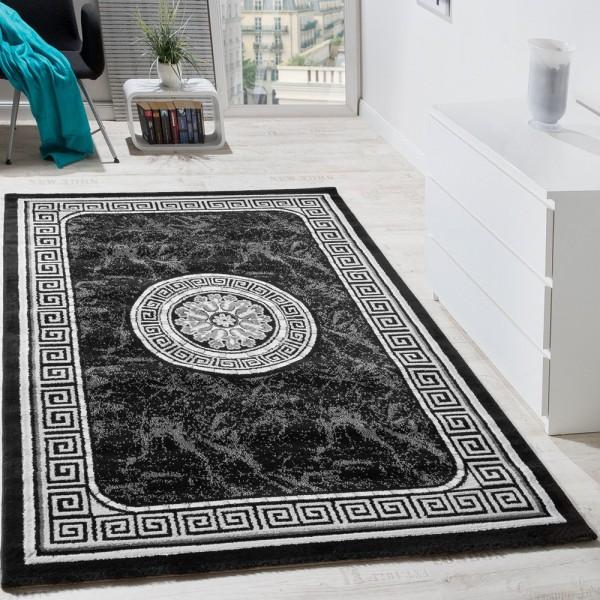 Designer Teppich Mit Glitzergarn Klassische Ornamente Bordüre Schwarz AUSVERKAUF