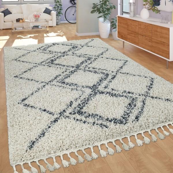 Teppich Wohnzimmer Shaggy Hochflor Modern Karo Rauten Muster In Creme Blau