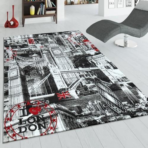 Designer Teppich London Grau Rot