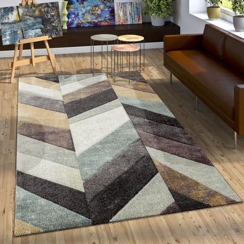 Designer Teppich Modern Stylish mit Konturenschnitt Mehrfarbig Beige Gelb Grün