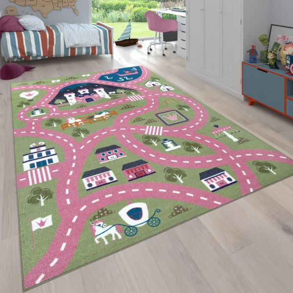 Teppich Kinderzimmer Straßen Muster Stadt Ponys
