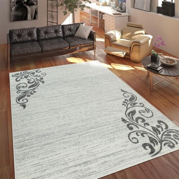 Teppich Wohnzimmer Modern Kurzflor Mehrfarbig Muster Floral Ornament Creme