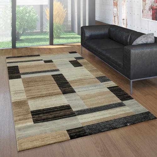 Edler Designer Teppich Meliert Farbverlauf Geometrische Muster Braun Beige Creme