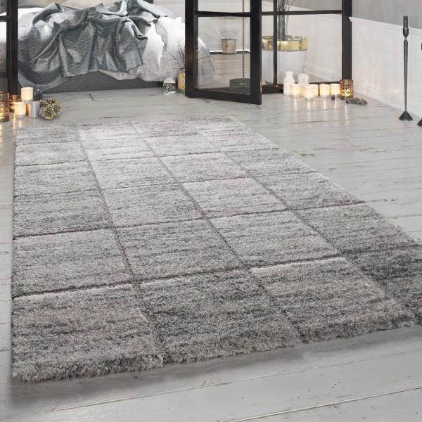 Hochflor-Teppich Wohnzimmer Karo-Muster