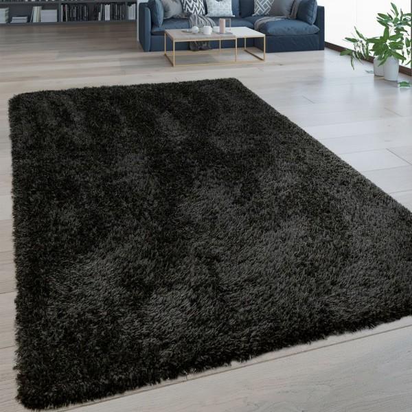 Hochflor Wohnzimmer Teppich Waschbar Shaggy Flokati Optik Einfarbig In Schwarz