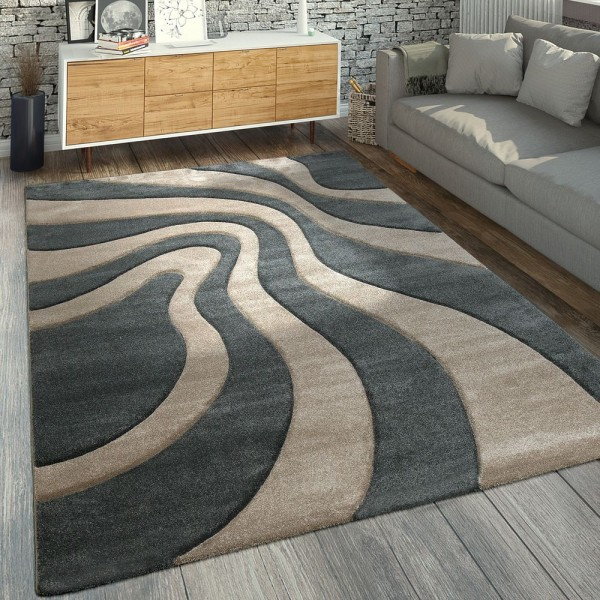 Designer Teppich Wellen Muster Grau Beige