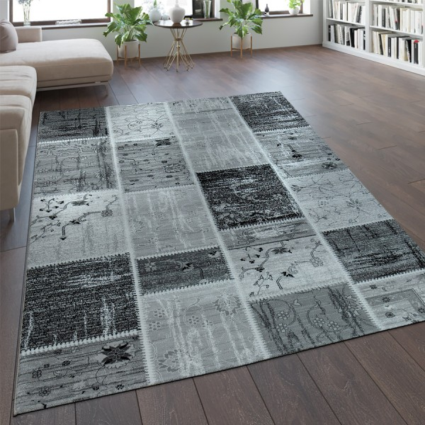 Designer Teppich Patchwork Muster Silber Grau