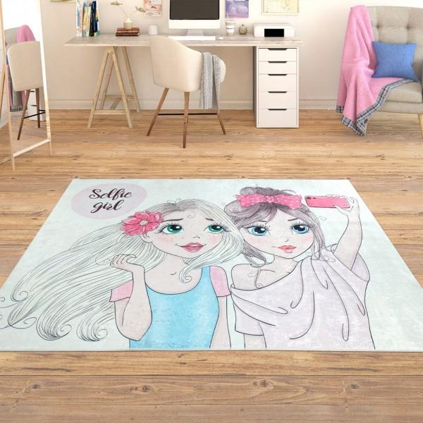 Trendiger Flachgewebe Mädchen Kinderteppich Selfie Blond Braun Mehrfarbig