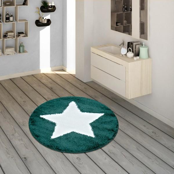 Badematte runder Kurzflor mit Sternen-Motiv